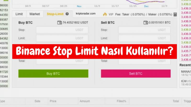 Binance Stop Limit Nasıl Kullanılır?