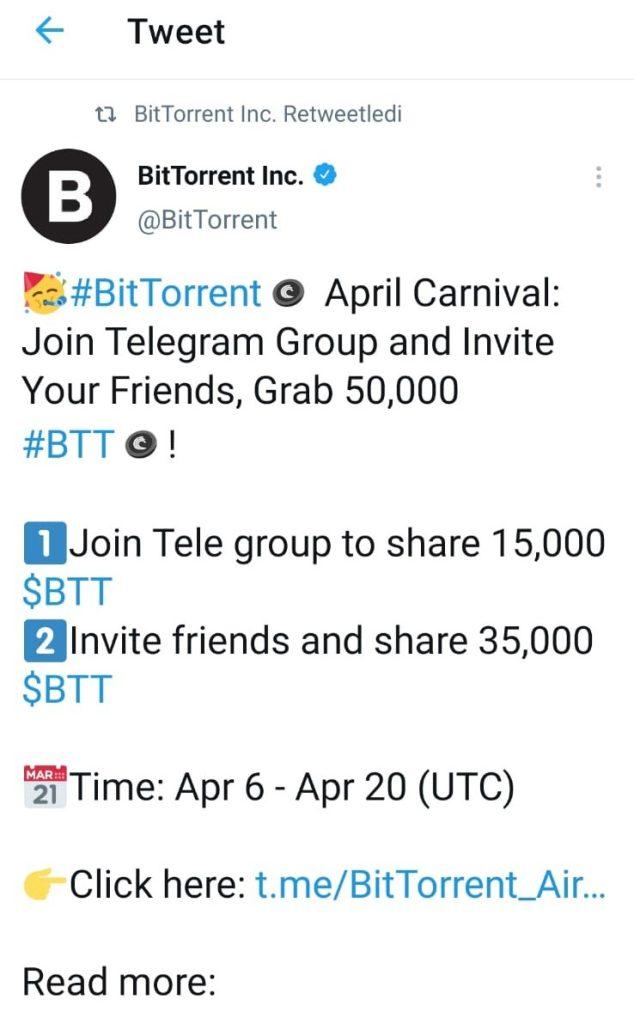50.000 adet bedava Bittorrent(BTT) dağıtılacak